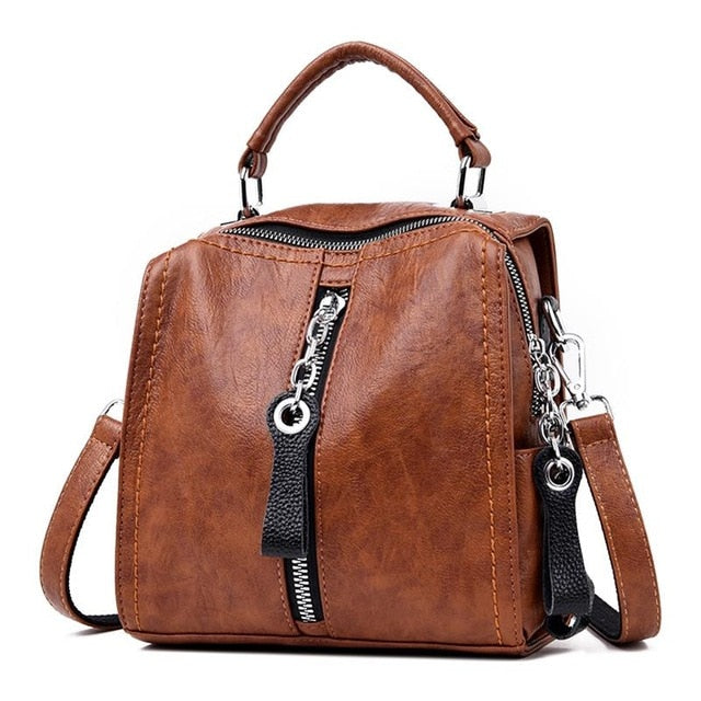 Women's PU Leather Multifunction Handbag - Zipper Tote with Shoulder Straps
