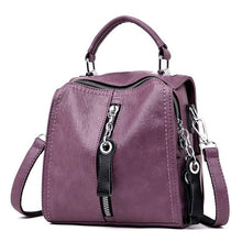 Load image into Gallery viewer, Women's PU Leather Multifunction Handbag - Zipper Tote with Shoulder Straps