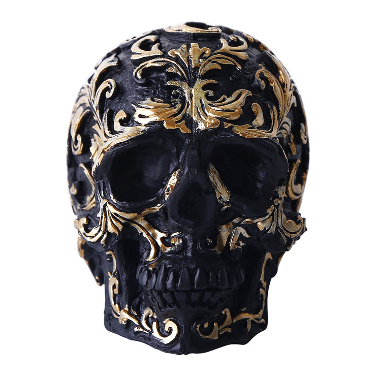 Black Gold Skull Sculpture - Handmade Gothic Decoration