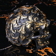Load image into Gallery viewer, Black Gold Skull Sculpture - Handmade Gothic Decoration