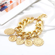 Treasure Trove Coin Pendant Bracelet - Vintage, Massive, Thick, Gold or Silver Plated Chain with Five Hanging, Gold or Silver Plated, Coin Pendants