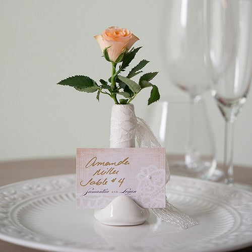 Small White Favor Vase or Place Card Holder (6) - Wedding Wonders