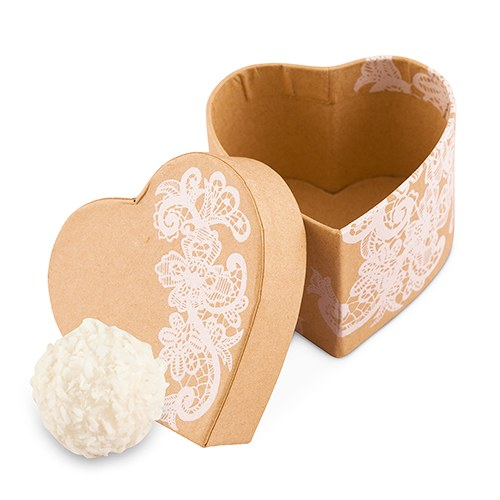 Heart Kraft Paper Favor Box with Vintage Lace Print (6) - Wedding Wonders