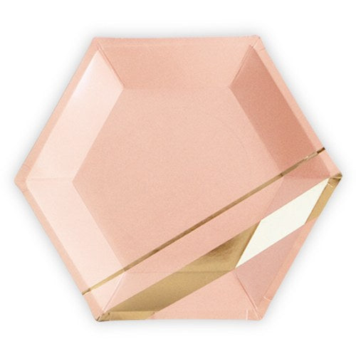 Gold & Blush Hexagon Party Plates (8) - Wedding Wonders