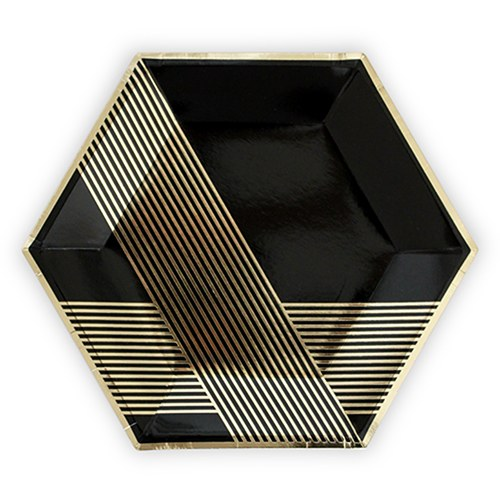 Black & Gold Hexagon Party Plates (8) - Wedding Wonders