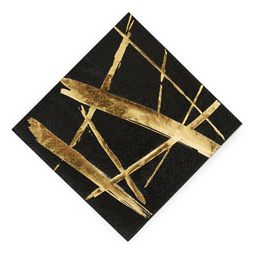 Gold Strokes Black Cocktail Napkins - Wedding Wonders