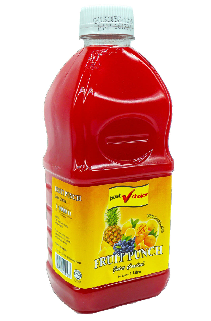 Best Choice Cordial (Btls) 12 x 1L Fruit Punch