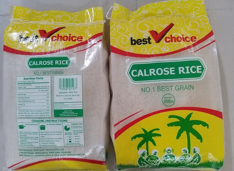Best Choice Calrose Rice 1 x 20lbs (9.07kg)