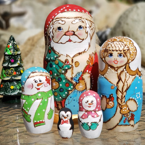 Christmas  Winter Nesting Dolls