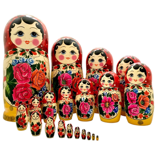 Traditional russian nesting dolls 20 piece set