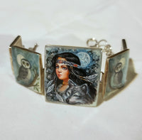 Girl and Wolf Hand Painted Bracelet