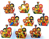 Set of 3 Nesting Doll Matryoshka with Balalaika Magnets in Assorted Color