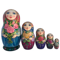 "Russian Matryoshka ""Garden Roses"" set of 5"