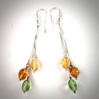 Green caribbean amber, honey amber , lemon amber earrings