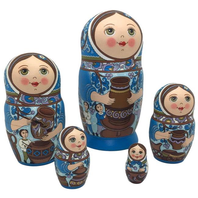 Blue Russian nesting dolls pottery