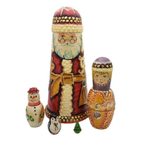 Authentic Russian Santa nesting dolls set