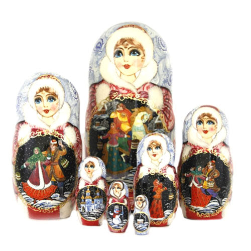 buyrussiangifts-store - Beautiful Winter 7 piece set - BuyRussianGifts Store - Nesting doll
