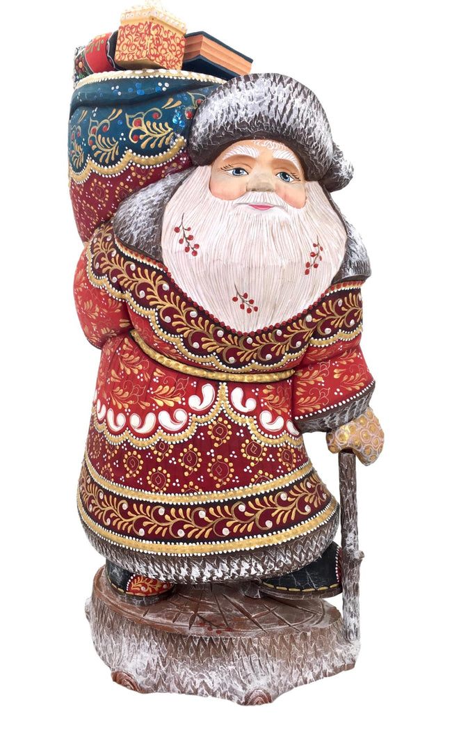 Large Santa Claus russian carved wooden figurine