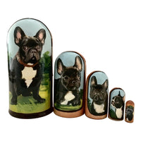 Black French dog nesting dolls