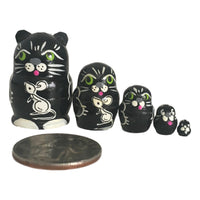 Black cat Russian Mini dolls