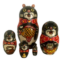 Black cats Russian nesting dolls