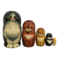 Black and orange cat's nesting dolls