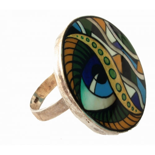 Blue Eye Mother Pearl Painted Ring Inspired by Mucha