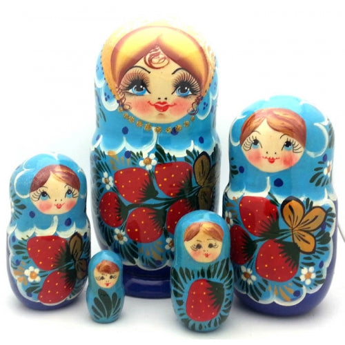 buyrussiangifts-store - Blue with Strawberry Nesting Doll 6