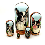 "Boston Terrier Dog Matryoshka Doll Set 4"" Tall"