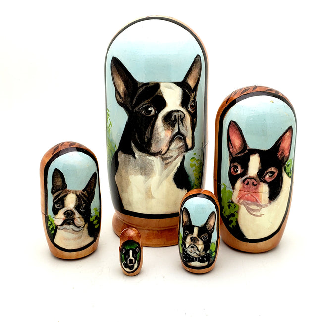 Boston Terrier Dog Matryoshka Doll Set 4