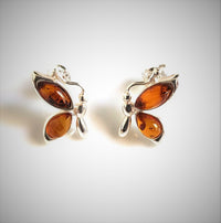 Butterfly Amber Stud Earrings