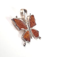 Butterfly Cognac Amber & Sterling Silver Pendant
