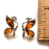 Butterfly Amber Wings Silver Stud Earrings