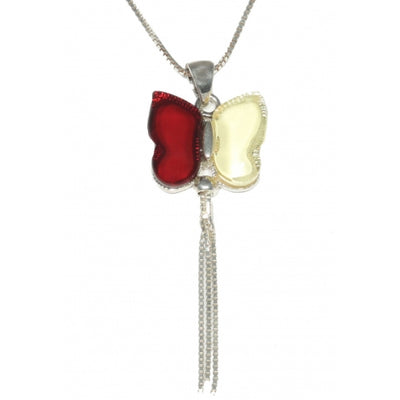 Butterfly Cherry / Lemon Amber & Sterling Silver Pendant