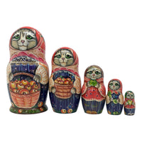 Cat apple nesting dolls