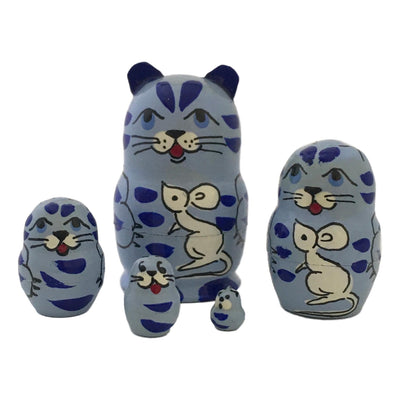 Cat with Mouse Miniature Nesting dolls