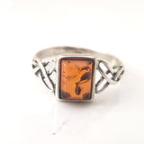 natural baltic amber ring in silver