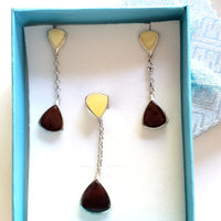 cherry butterscotch amber jewelry set in gift box