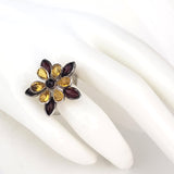 Flower Shaped Cognac Lemon Amber & Sterling Silver Ring