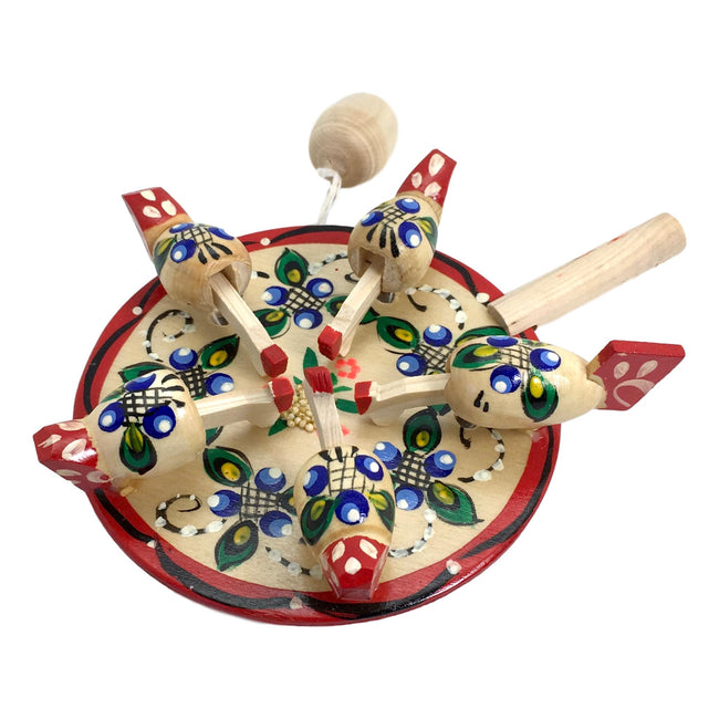 Russian kids toy chicken paddle
