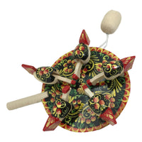 Wooden toy chicken paddle