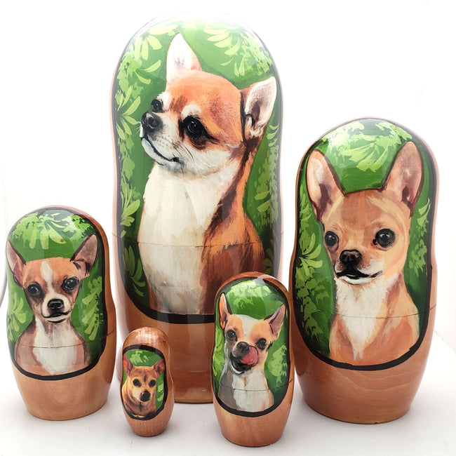 Smooth Coat Chihuahua Dog Breed Nesting Doll