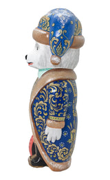 Russian bear wooden carved figurine