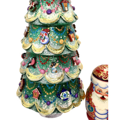 Christmas tree nesting dolls with ornaments