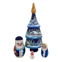 Blue matryoshka doll Christmas tree