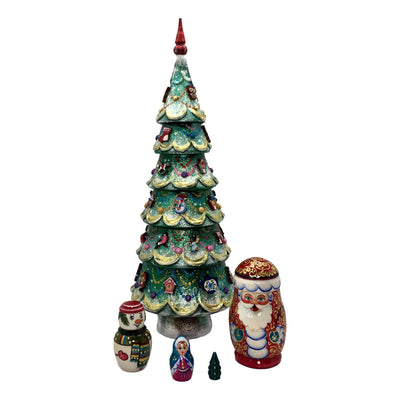Large Christmas tree matryoshka dolls
