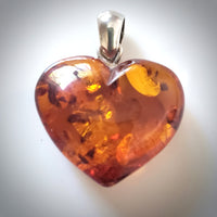 Cognac Amber Heart with Sterling Silver