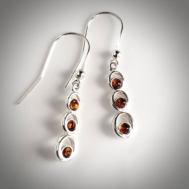 cognac amber drops earrings