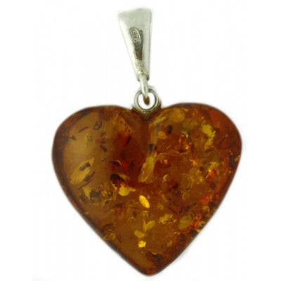 Cognac Amber Heart Sterling Silver