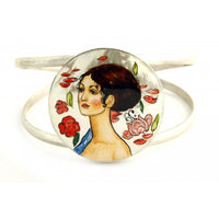 "buyrussiangifts-store - Hand Painted Cuff Bracelet inspired by ""Lady with fan"", Klimt - BuyRussianGifts Store - MOTHER OF PEARL HAND PAINTED JEWELRY"